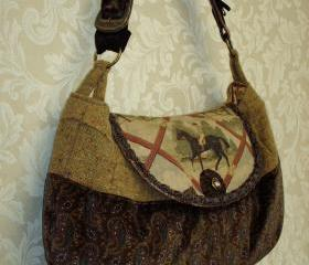 Large Equestrian Paisley Velvet And Wool Tweed Messenger bag / Autumn Fashion