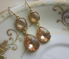 Champagne Earrings Peach Gold Earrings Teardrop Glass Two Tier - Bridesmaid Earrings Wedding Earrings Bridal Earrings