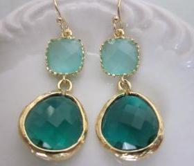 Emerald Green Earrings - Blue Earrings - Bridesmaid Earrings Wedding Earrings