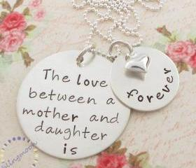 Hand Stamped Mother Daughter Necklace: Personalized Jewelry, Mother Daughter Charm, Mother Daughter Necklace
