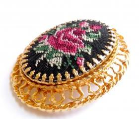 Petit Point Rose Embroidered Brooch Pendant Vintage Gold Tone