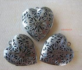3PCS - Gunmetal - Heart Pendant Settings - 28x25x7mm - Jewelry Findings by ZARDENIA
