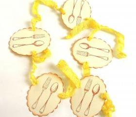 Vintage Inspired Lemon Yellow and Ivory Knife And Spoon Garland