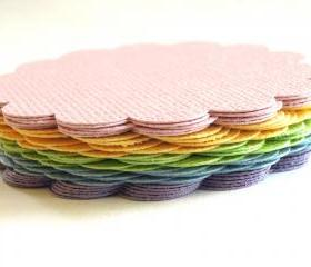 Pastel Rainbow Glitter Card Stock Scalloped Circles - Set of 25