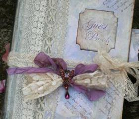 Lavender Wedding Guest Book - vintage style - Custom made - has 60 pages