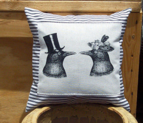 Decorative Pillow Cover with Crow Raven Couple