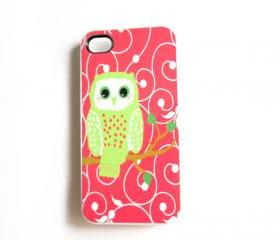 iPhone 4/4S Case Mint and Coral Owl Accessory Case