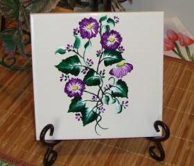 Painted Ceramic Trivet/ Spoon Rest with Purple Flowers