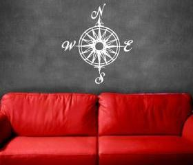Compass Rose Nautical Vinyl Wall Decal 22165
