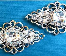 Wedding Shoe Clips, Bridal Accessories, Victorian Style, Silver, Crystal, Rhinestone