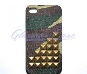 iPhone 4/4S Bronze Pyramid Studded Army Camouflage Case