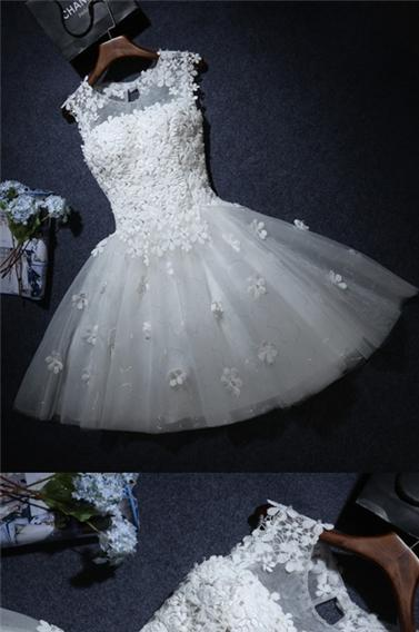 White Homecoming Dress Sexy A-line Flower Short Prom Dress Party Dress ,90203