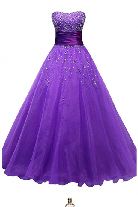 Evening Dresses, Abendkleider Meerjungfrau Purple Organza Ball Gown Prom Dresses, Cheap Long Party Gowns
