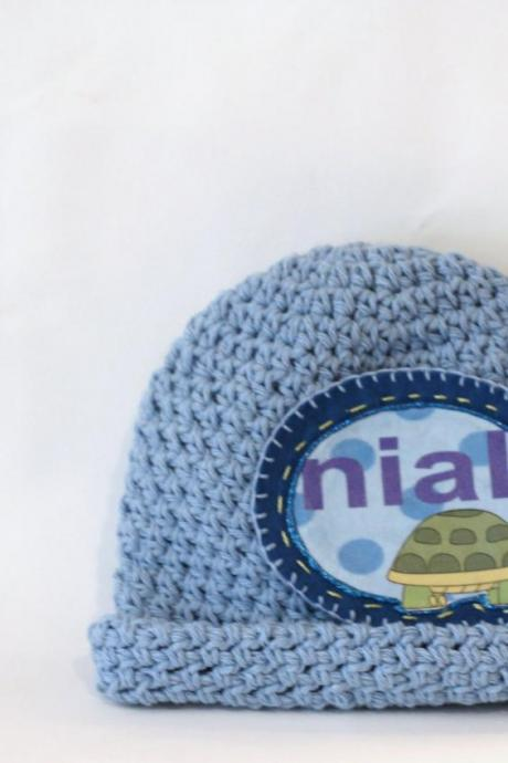 Roll Brim Boys Personalized Baby Beanie, 100% Cotton Hand Crochet Indie Made Denim Blue