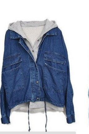 Detachable hooded casual jacket denim, two piecesAAA L 073003S