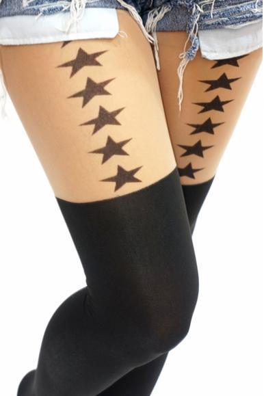 Star Over Knee Mock Tights/ Stockings/ Pantyhose