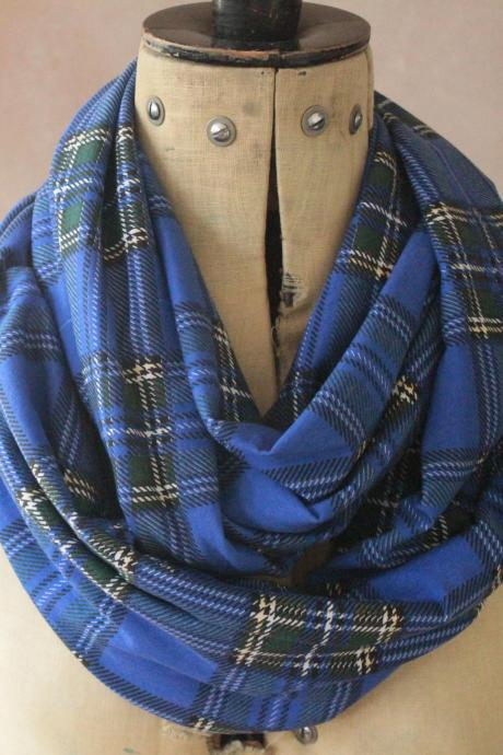 Infinity scarf - Snood, Eternity scarf, Circle scarf, Jersey scarf, Tube scarf, Loop scarf, Snood, T-Shirt scarf - Blue Tartan