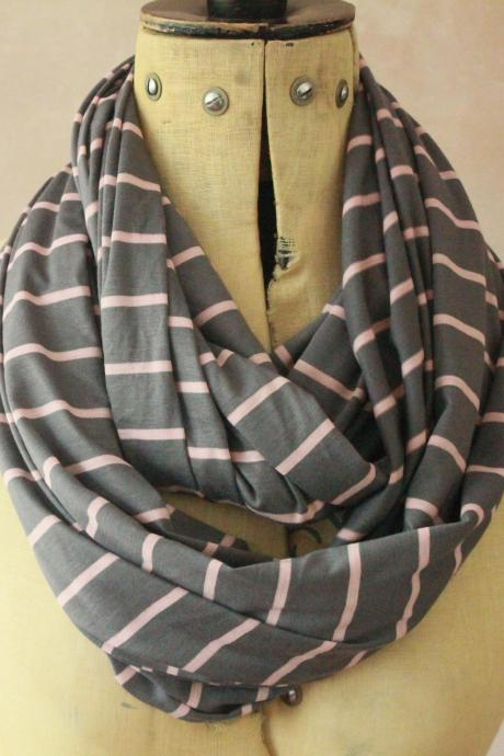 Infinity scarf - Snood, Eternity scarf, Circle scarf, Jersey scarf, Tube scarf, Loop scarf, Snood, T-Shirt scarf - GreyStripes