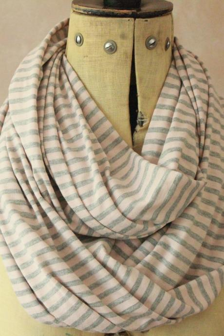 Infinity scarf - Snood, Eternity scarf, Circle scarf, Jersey scarf, Tube scarf, Loop scarf, Snood, T-Shirt scarf - Grey and Pink Stripes