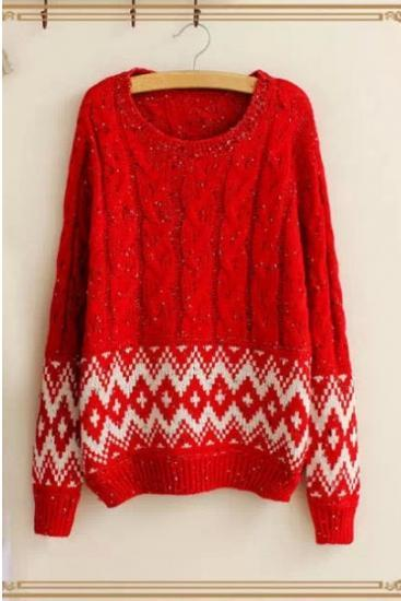 High Quality Women'S Rhombus Print Long Sleeves Pullover Round Neck Loose Knitting Sweater