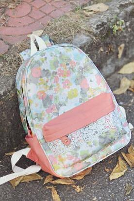 Pretty Adorable Flower Print Backpack with Lace details, Cute Backpack for School, High Quality Backpack