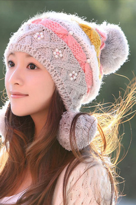 The new autumn and winter knitting hat lady sweet Mao Xianmao