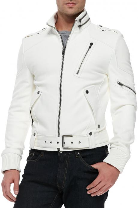 WHITE MENS LEATHER JACKET , MEN BIKER LEATHER JACKET