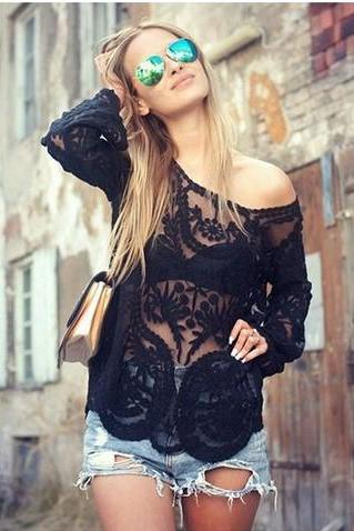 Black Lace Crochet Blouse Women's Tops Plus Size WC289-2