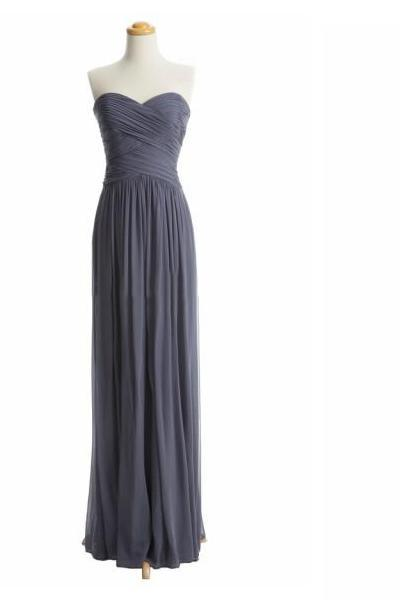 Gray Bridesmaid Dress Strapless A-line Sweetheart Chiffon Long Formal/Evening/Prom Dresses