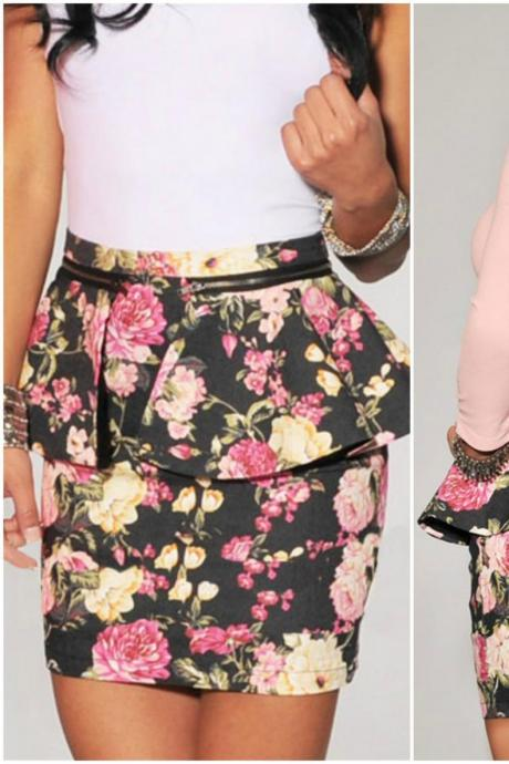 Black Floral Printed Peplum Mini Skirt