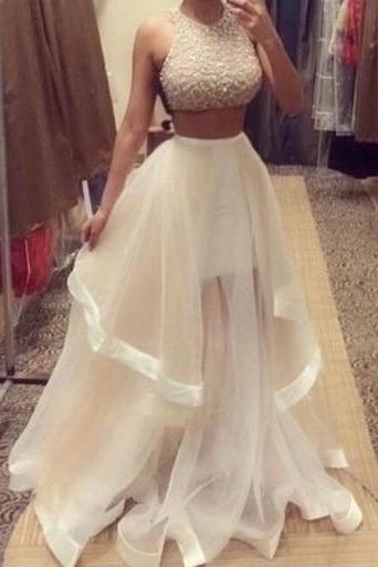 Custom Made Two Pieces Prom Dresses 2015, Party Dresses 2015, Formal Dresses 2015, Evening Dresses 2015