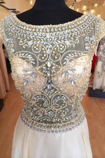 Custom Made A Line Round Neck Prom Dresses with Handmade Beadings
