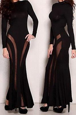 Black Long Sleeve Floor-Length Lace Ruched Maxi Fishtail Party Club Long Dress