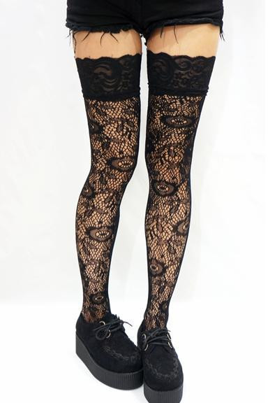 Thigh Lace Floral Fishnet Stockings