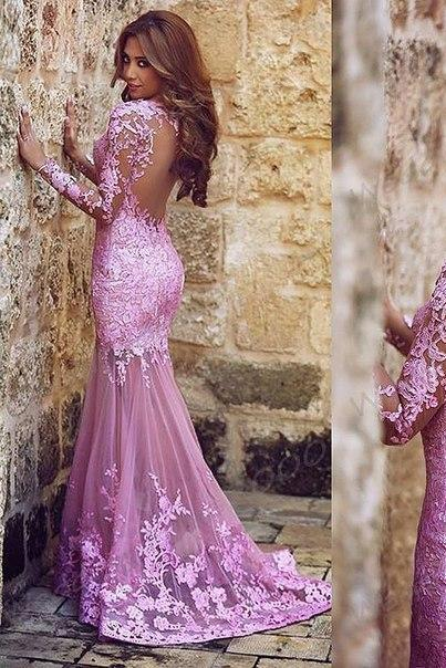 Mermaid Tulle Applique Lace Plum Prom Dresses Scoop Neck Transparent Long Sleeves Formal Evening Dress Appliques Gowns Party Dresses With Backless