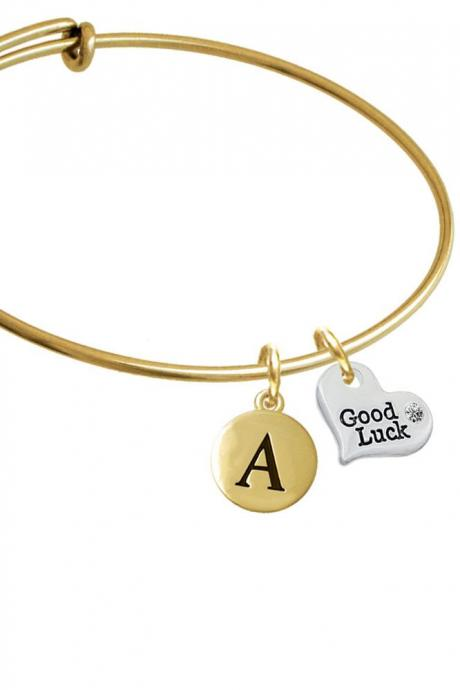 Small Good Luck Heart Gold Tone Initial Charm Expandable Bangle Bracelet BR-C5978-PebbleInitial-F2084-GP