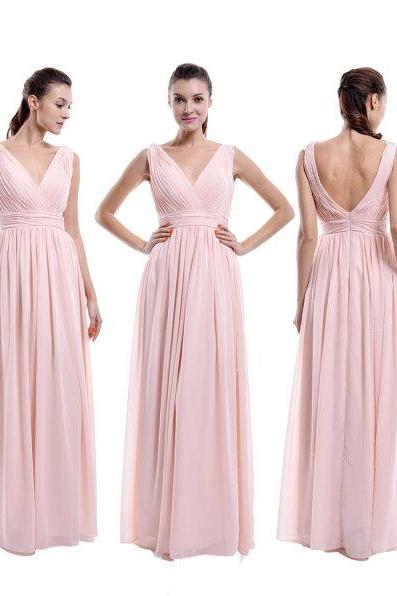 Pearl Pink V neck V back Bridesmaid Dress, A-line Chiffon Bridesmaid Dress With Straps