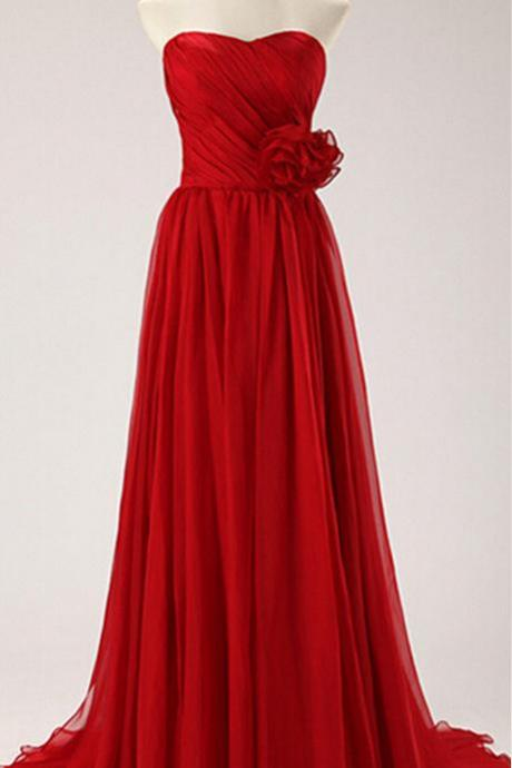 Delicate Red Sweetheart Chiffon Prom Gown, Red Prom Dresses 2015, Bridesmaid Dresses, Evening Dresses