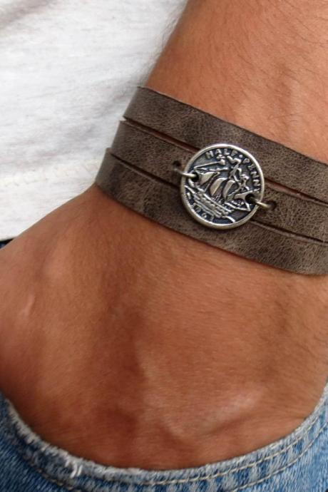 Men's Bracelet - Men's Leather Bracelet - Men's Coin Necklace - Men's Jewelry - Men's Gift - Boyfrienf Gift - Husband Gift - Gift for him