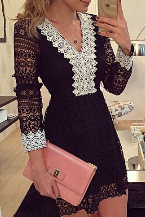 Black Long Sleeve Lace V-Neckline Short Dress, Graduation Dress