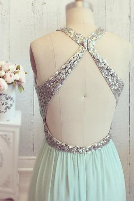 Halter Chiffon Mint Long Prom Dress For Women Party Dress Elegant Dress