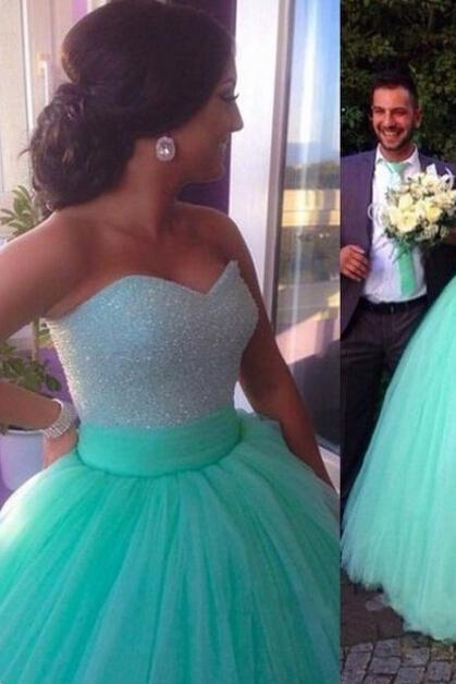 Sweetheart Cute Women Wedding Dress ,Green Prom Dresses, Evening Dresses