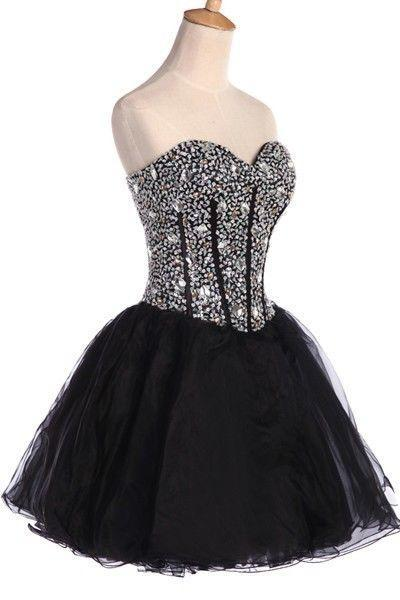 Beaded Embellished Sweetheart Black Short Tulle Homecoming Dress Featuring Lace-Up Back, Bridesmaid Dress, Cocktail Dress