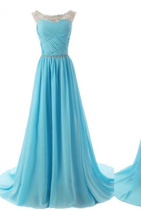 Ulass Chiffon Charming Prom Dresses, Floor-Length Evening Dresses, Prom Dresses, A-Line Real Made Prom Dresses On Sale