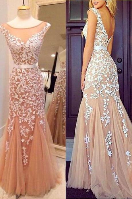Custom Made Mermaid Round Neckline Floor Length Lace Prom Dresses, Lace Formal Dresses. Lace Evening Dresses