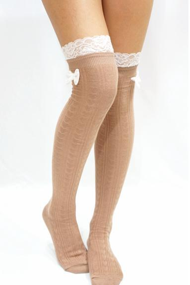 Lace Bow Side Knee High Lace Socks - Beige