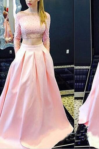 2016 Pink prom dresses evening party dresses stain Two pieces backless sexy Prom dresses