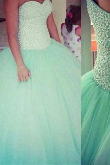 New Arrival Green Prom Dress,Ball Gown Prom Dress,Beading Prom Gown,Long Evening Dress,Formal Dress