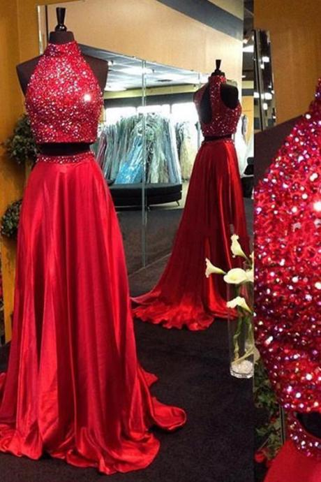 Red Two-Piece Crystal Embellished High Neck Floor Length Satin Prom Dress, Bridesmaid Dress
